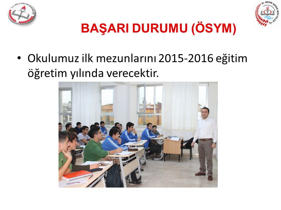 BAŞARI DURUMU (ÖSYM) Okulumuz ilk mezunlarını 2015-2016 eğitim öğretim yılında verecektir.
