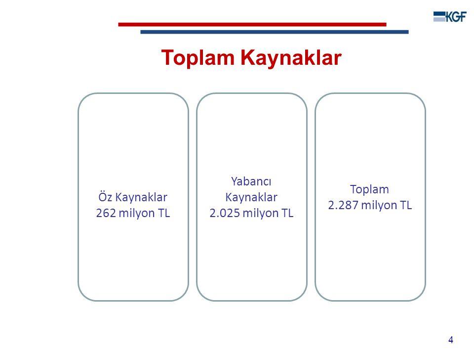 Toplam Kaynaklar Öz Kaynaklar 262 milyon TL Yabancı Kaynaklar