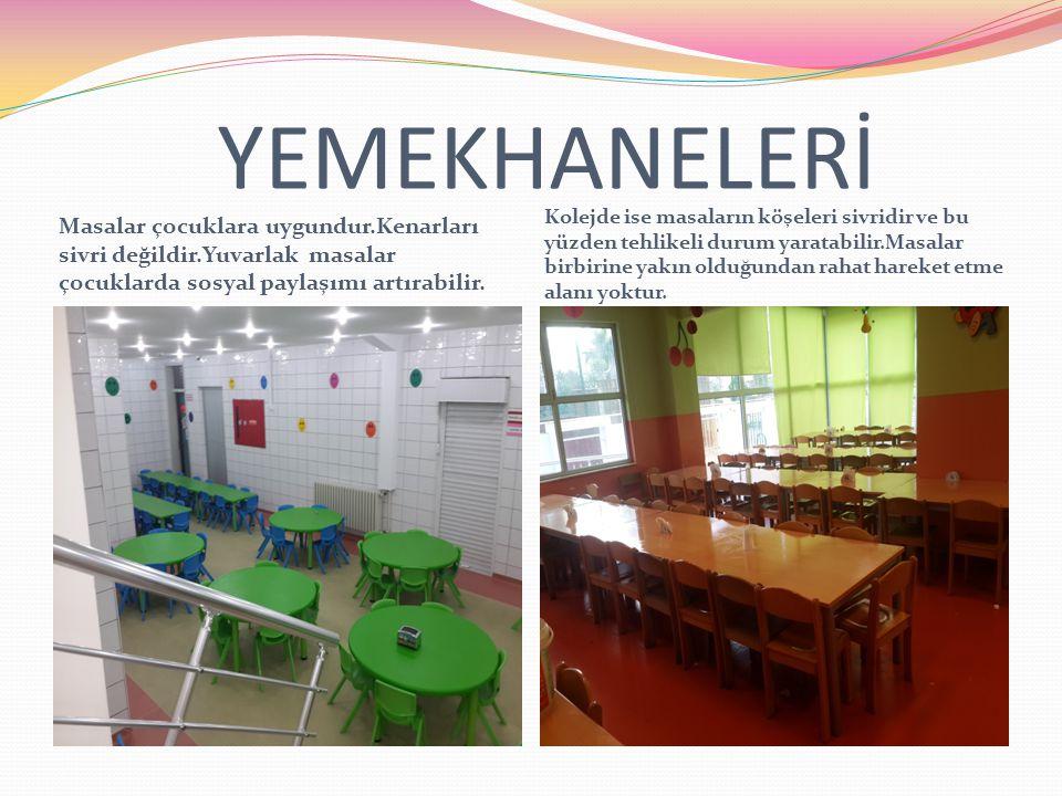 YEMEKHANELERİ Masalar çocuklara uygundur.Kenarları sivri değildir.Yuvarlak masalar çocuklarda sosyal paylaşımı artırabilir.