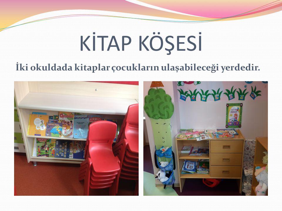 KİTAP KÖŞESİ İki okuldada kitaplar çocukların ulaşabileceği yerdedir.