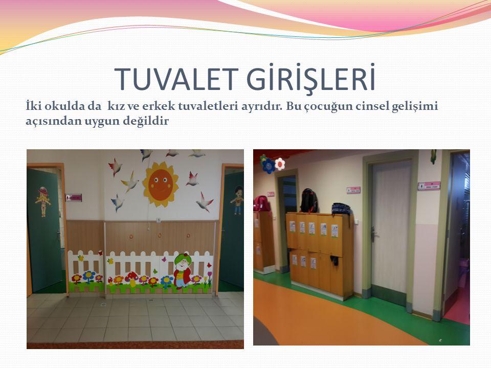 TUVALET GİRİŞLERİ İki okulda da kız ve erkek tuvaletleri ayrıdır.