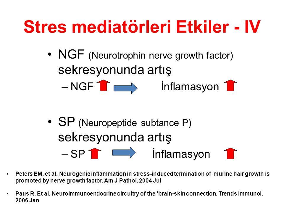 Stres mediatörleri Etkiler - IV