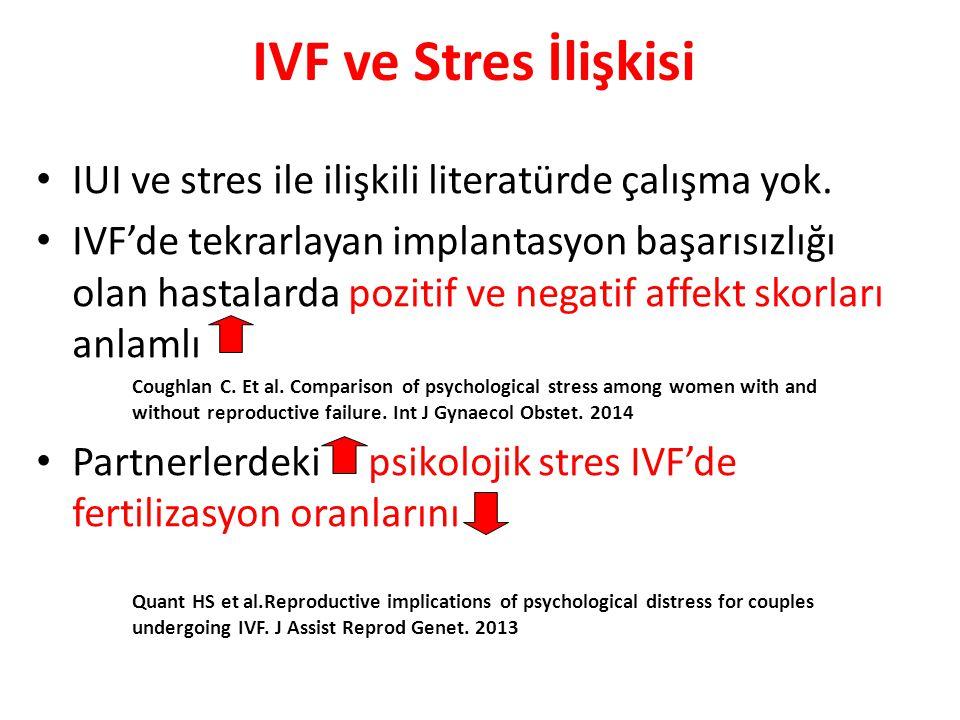 IVF ve Stres İlişkisi IUI ve stres ile ilişkili literatürde çalışma yok.