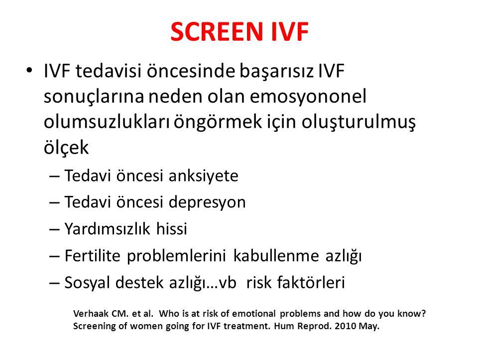 SCREEN IVF IVF tedavisi öncesinde başarısız IVF sonuçlarına neden olan emosyononel olumsuzlukları öngörmek için oluşturulmuş ölçek.