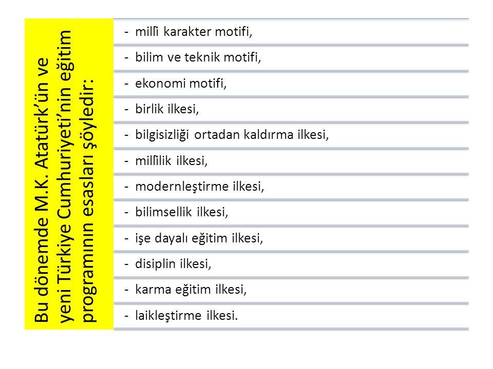 Bu dönemde M.K. Atatürk'ün ve yeni Türkiye Cumhuriyeti'nin eğitim programının esasları şöyledir: