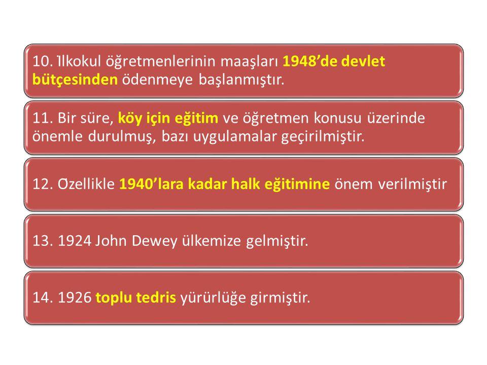 10. İlkokul öğretmenlerinin maaşları 1948'de devlet bütçesinden ödenmeye başlanmıştır.