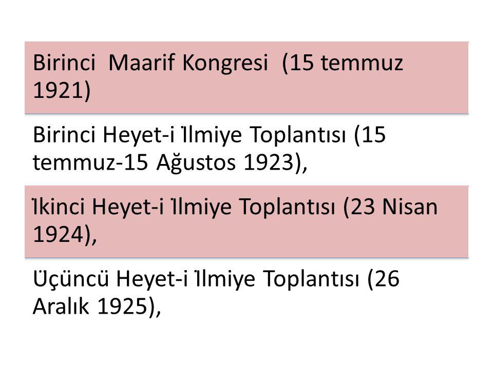 Birinci Maarif Kongresi (15 temmuz 1921)