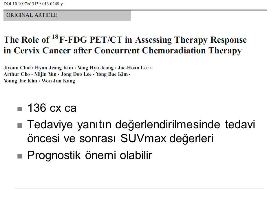 136 cx ca Tedaviye yanıtın değerlendirilmesinde tedavi öncesi ve sonrası SUVmax değerleri.
