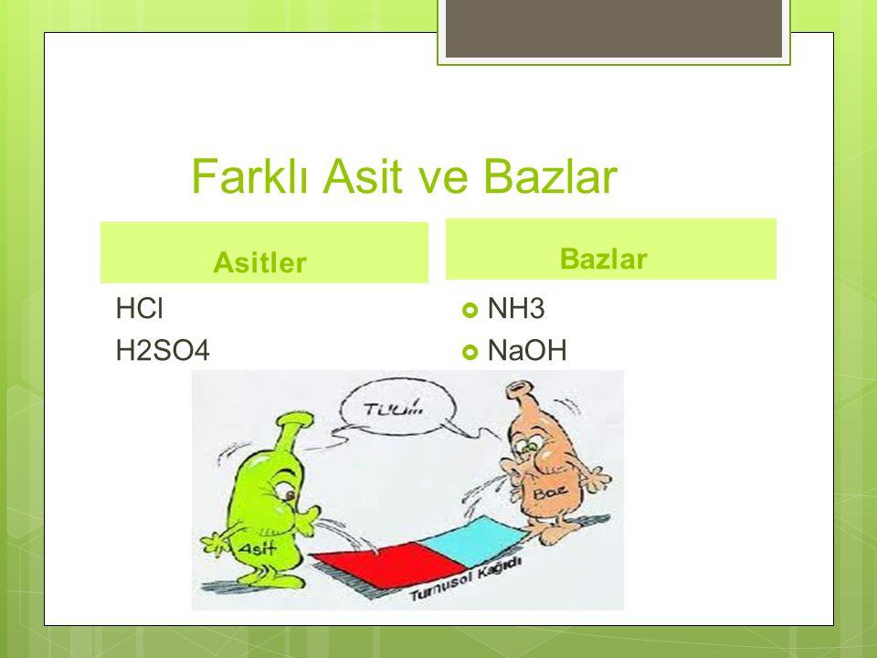 Farklı Asit ve Bazlar Asitler Bazlar HCl H2SO4 NH3 NaOH