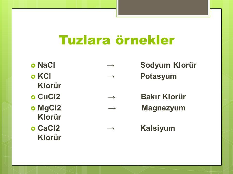 Tuzlara örnekler NaCl → Sodyum Klorür KCl → Potasyum Klorür