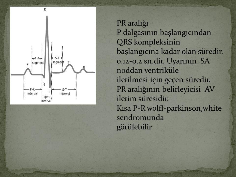 PR aralığı P dalgasının başlangıcından QRS kompleksinin. başlangıcına kadar olan süredir. 0.12-0.2 sn.dir. Uyarının SA noddan ventriküle.