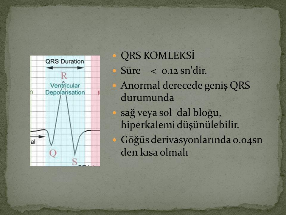 QRS KOMLEKSİ Süre < 0.12 sn dir. Anormal derecede geniş QRS durumunda. sağ veya sol dal bloğu, hiperkalemi düşünülebilir.