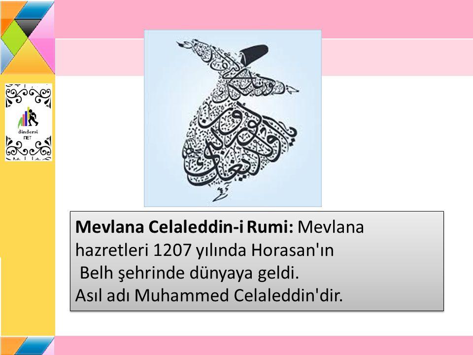 Mevlana Celaleddin-i Rumi: Mevlana hazretleri 1207 yılında Horasan ın Belh şehrinde dünyaya geldi.