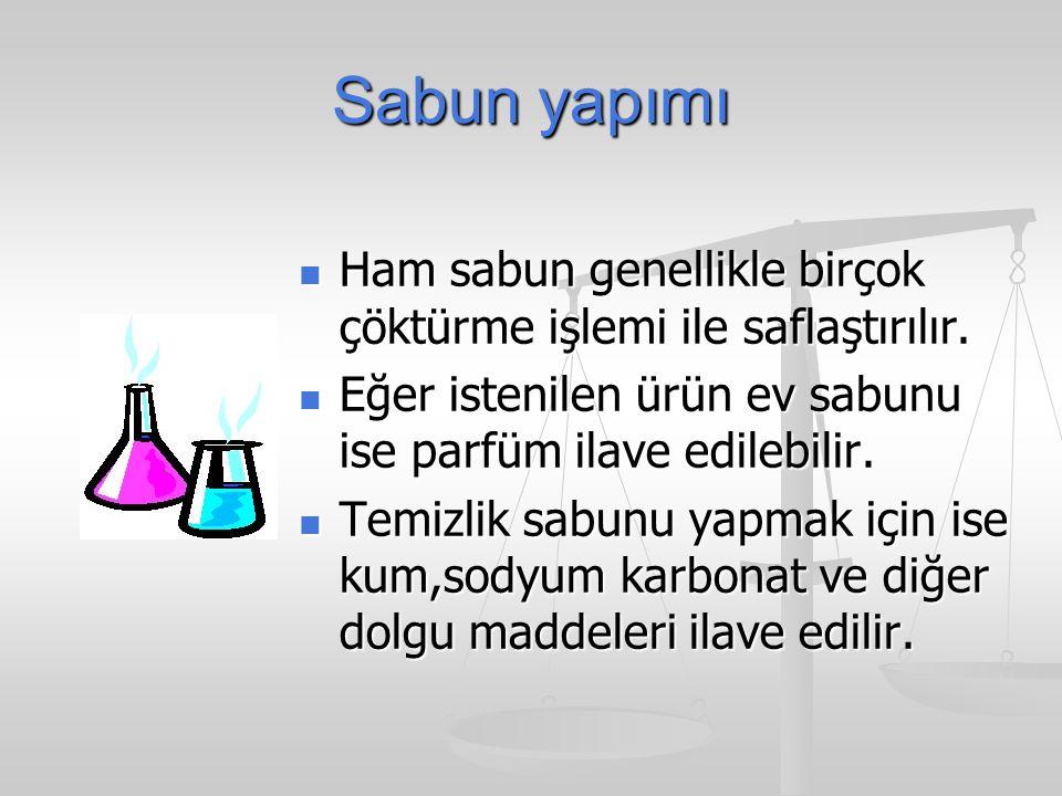 Sabun yapımı Ham sabun genellikle birçok çöktürme işlemi ile saflaştırılır. Eğer istenilen ürün ev sabunu ise parfüm ilave edilebilir.