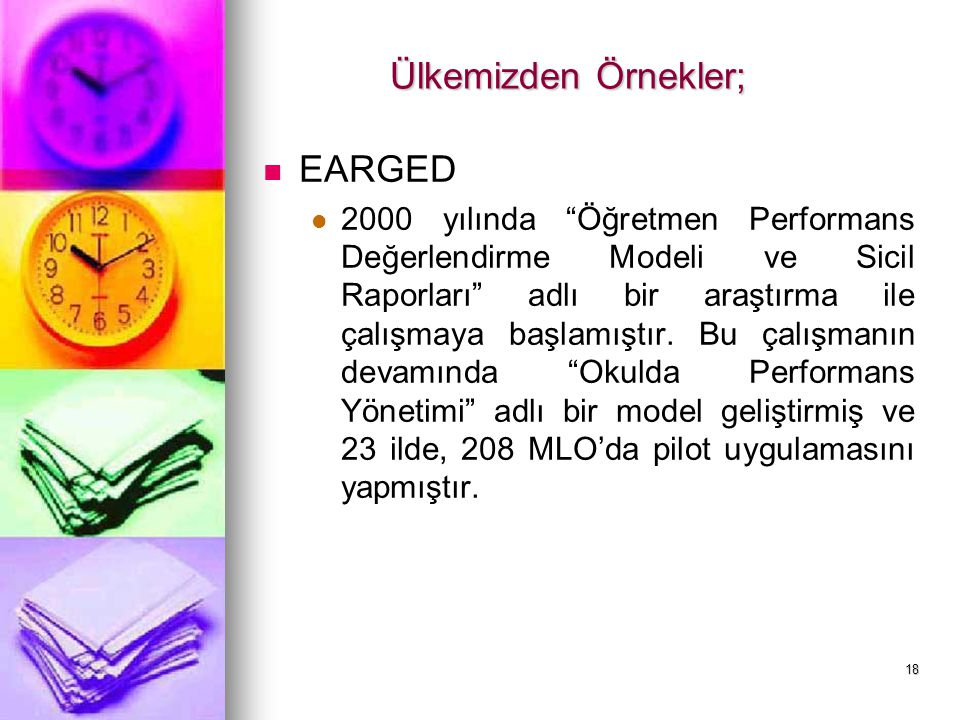 Ülkemizden Örnekler; EARGED