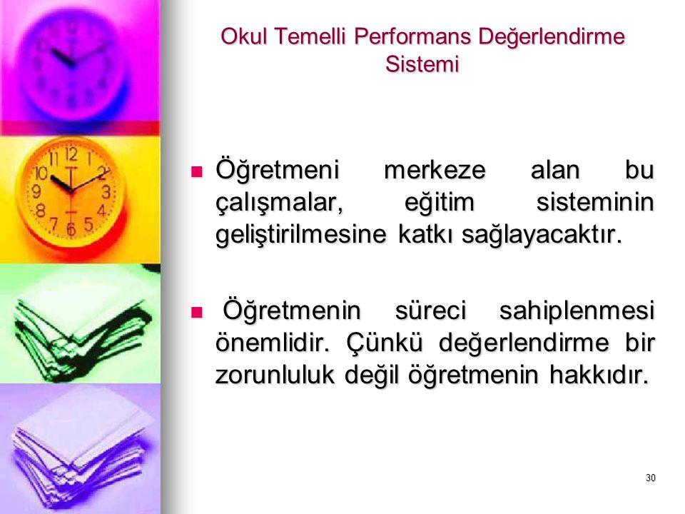 Okul Temelli Performans Değerlendirme Sistemi