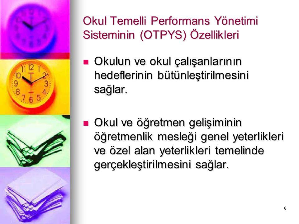 Okul Temelli Performans Yönetimi Sisteminin (OTPYS) Özellikleri