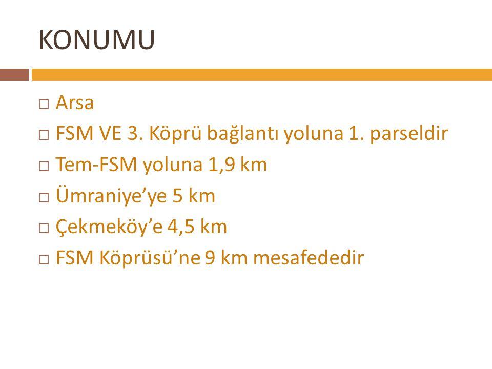 KONUMU Arsa FSM VE 3. Köprü bağlantı yoluna 1. parseldir