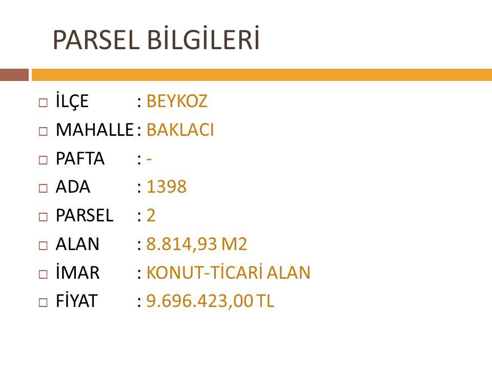 PARSEL BİLGİLERİ İLÇE : BEYKOZ MAHALLE : BAKLACI PAFTA : - ADA : 1398