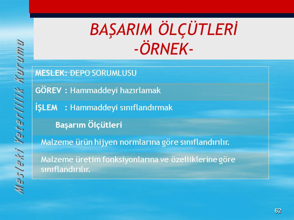 BAŞARIM ÖLÇÜTLERİ -ÖRNEK-