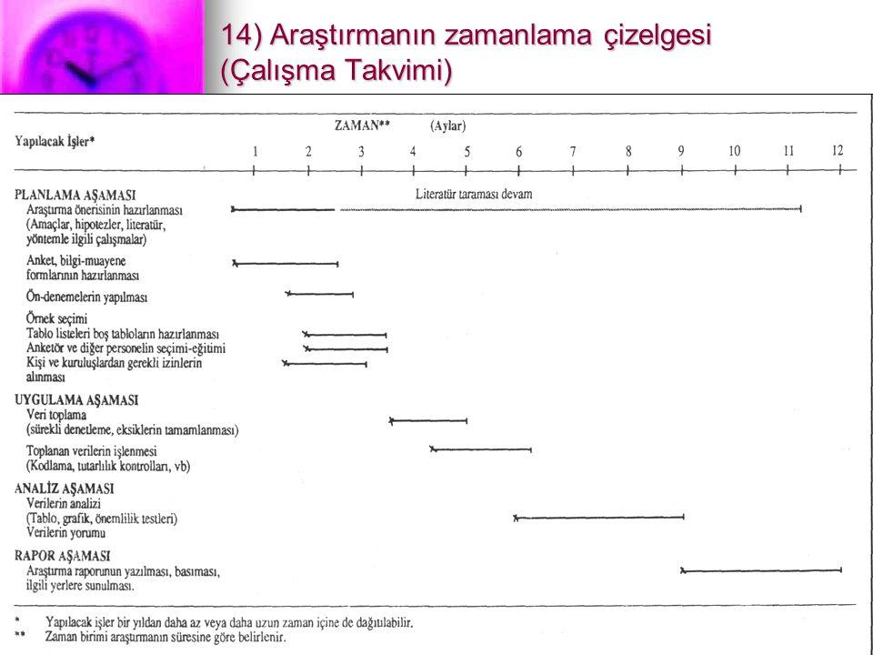 14) Araştırmanın zamanlama çizelgesi (Çalışma Takvimi)