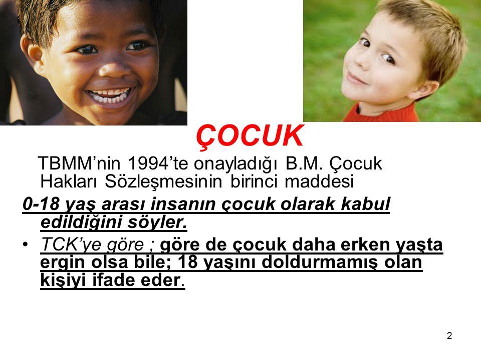 ÇOCUK TBMM'nin 1994'te onayladığı B.M. Çocuk Hakları Sözleşmesinin birinci maddesi. 0-18 yaş arası insanın çocuk olarak kabul edildiğini söyler.