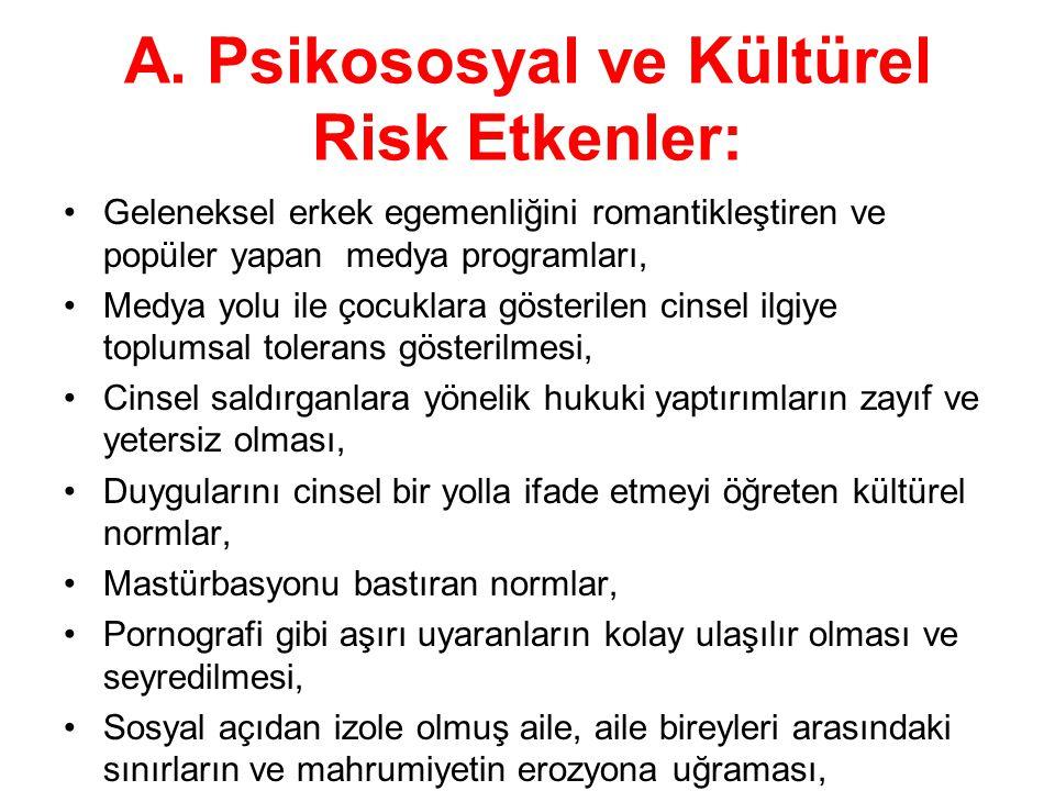 A. Psikososyal ve Kültürel Risk Etkenler: