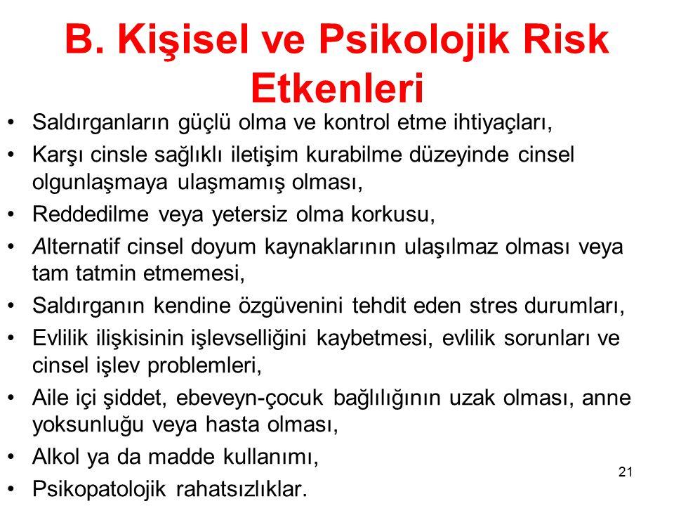 B. Kişisel ve Psikolojik Risk Etkenleri