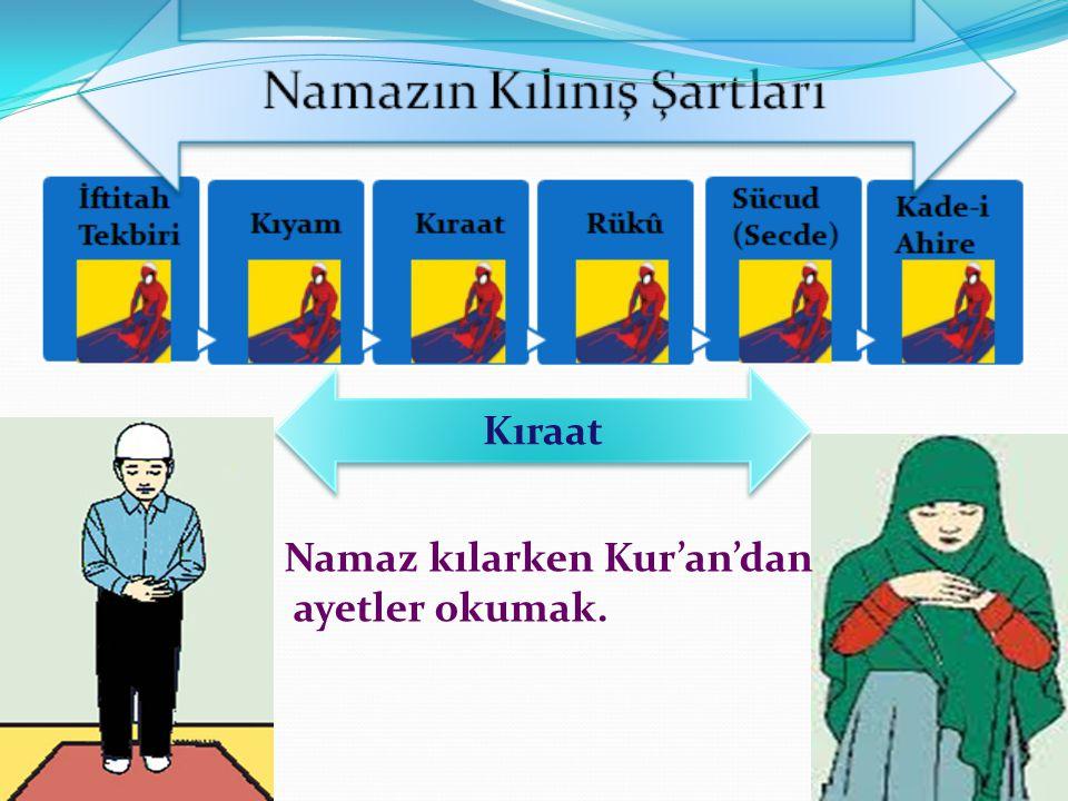 Kıraat Namaz kılarken Kur'an'dan ayetler okumak.