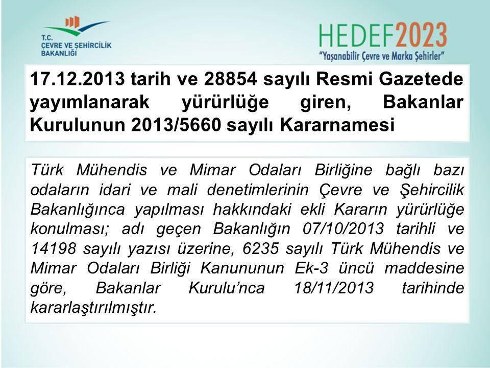 17.12.2013 tarih ve 28854 sayılı Resmi Gazetede yayımlanarak yürürlüğe giren, Bakanlar Kurulunun 2013/5660 sayılı Kararnamesi