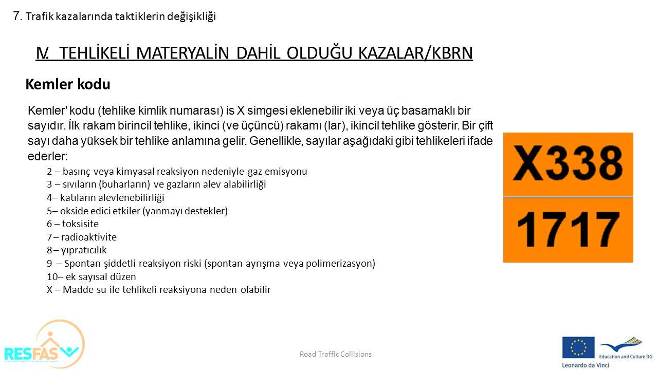 IV. TEHLİKELİ MATERYALİN DAHİL OLDUĞU KAZALAR/KBRN