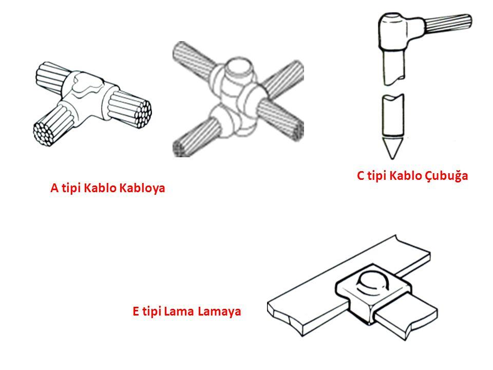 C tipi Kablo Çubuğa A tipi Kablo Kabloya E tipi Lama Lamaya