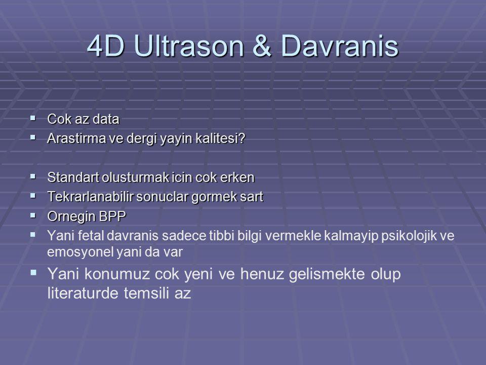 4D Ultrason & Davranis Cok az data. Arastirma ve dergi yayin kalitesi Standart olusturmak icin cok erken.