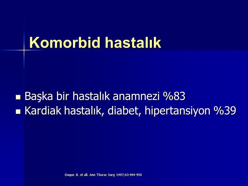 Komorbid hastalık Başka bir hastalık anamnezi %83