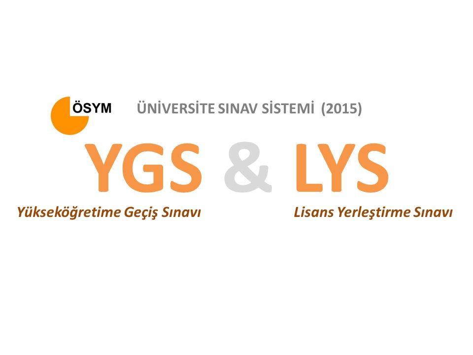 YGS & LYS ÜNİVERSİTE SINAV SİSTEMİ (2015) Yükseköğretime Geçiş Sınavı