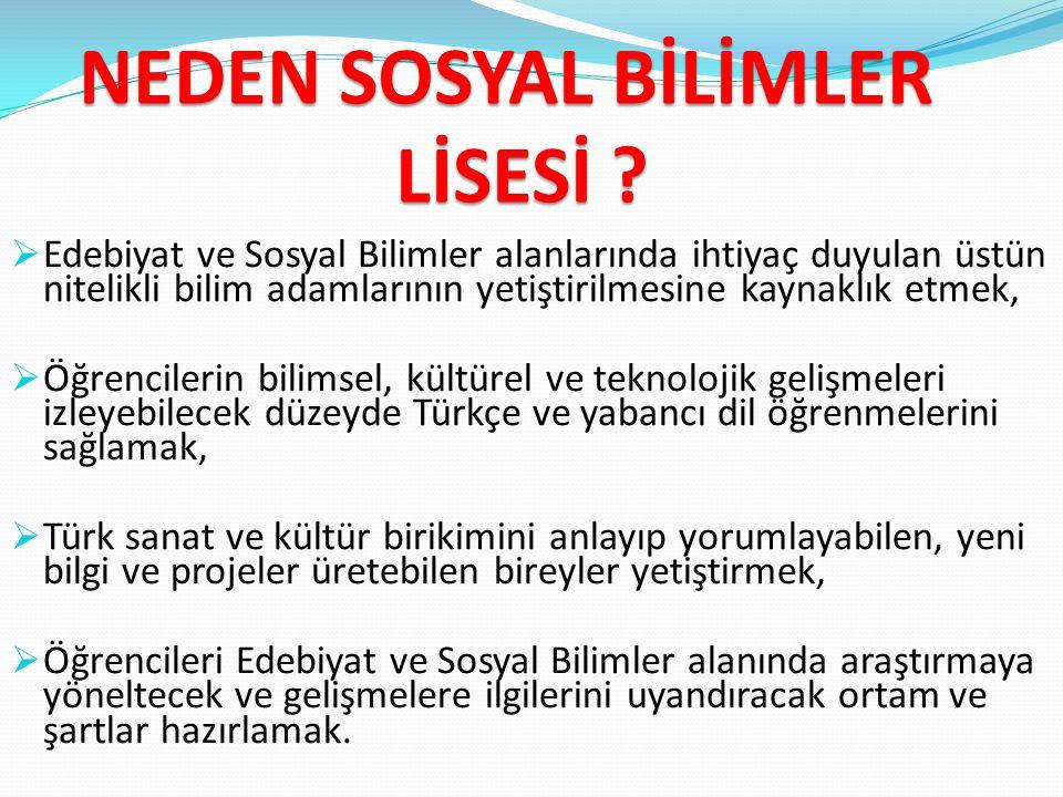 NEDEN SOSYAL BİLİMLER LİSESİ