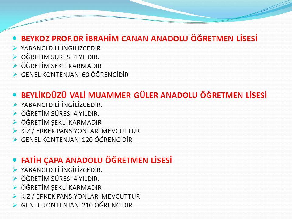 BEYKOZ PROF.DR İBRAHİM CANAN ANADOLU ÖĞRETMEN LİSESİ