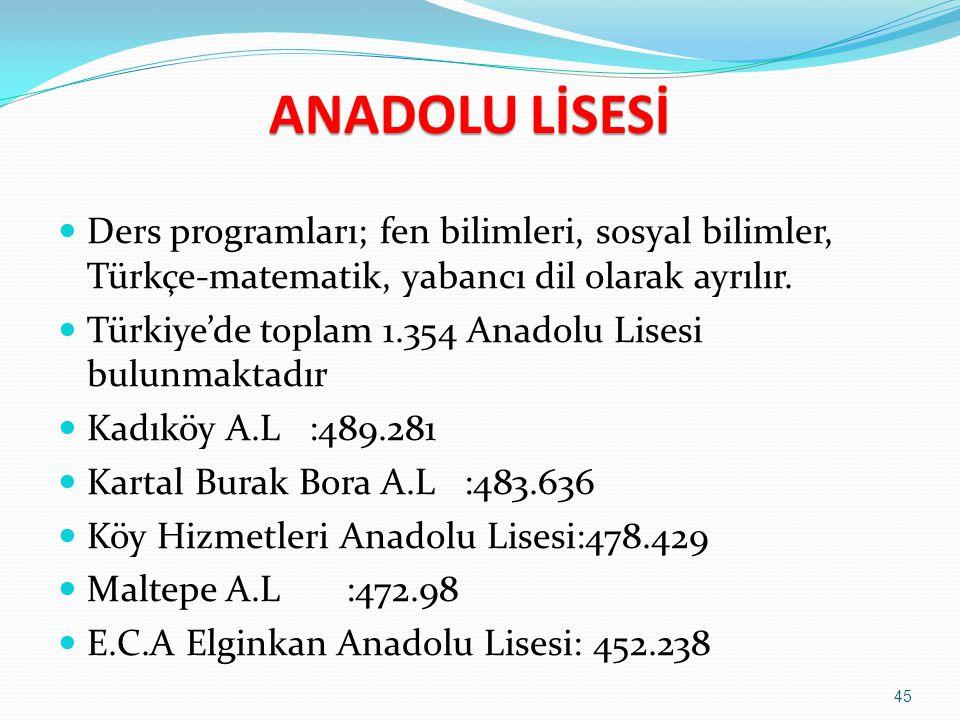 ANADOLU LİSESİ Ders programları; fen bilimleri, sosyal bilimler, Türkçe-matematik, yabancı dil olarak ayrılır.