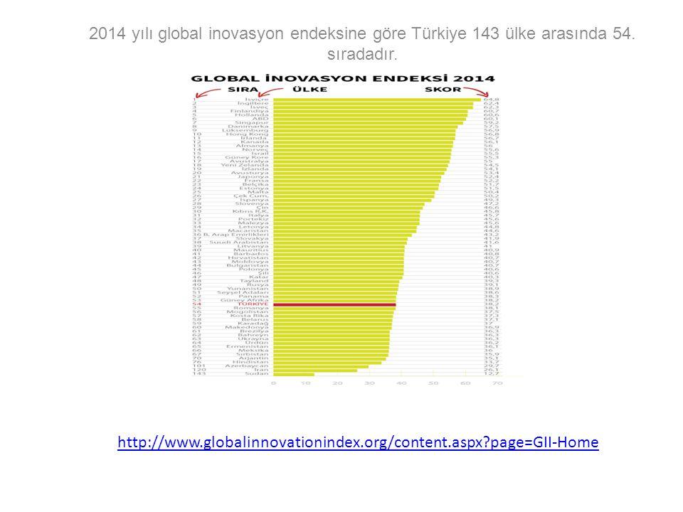 2014 yılı global inovasyon endeksine göre Türkiye 143 ülke arasında 54