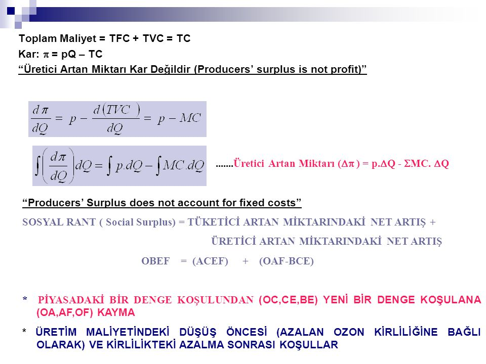 Toplam Maliyet = TFC + TVC = TC