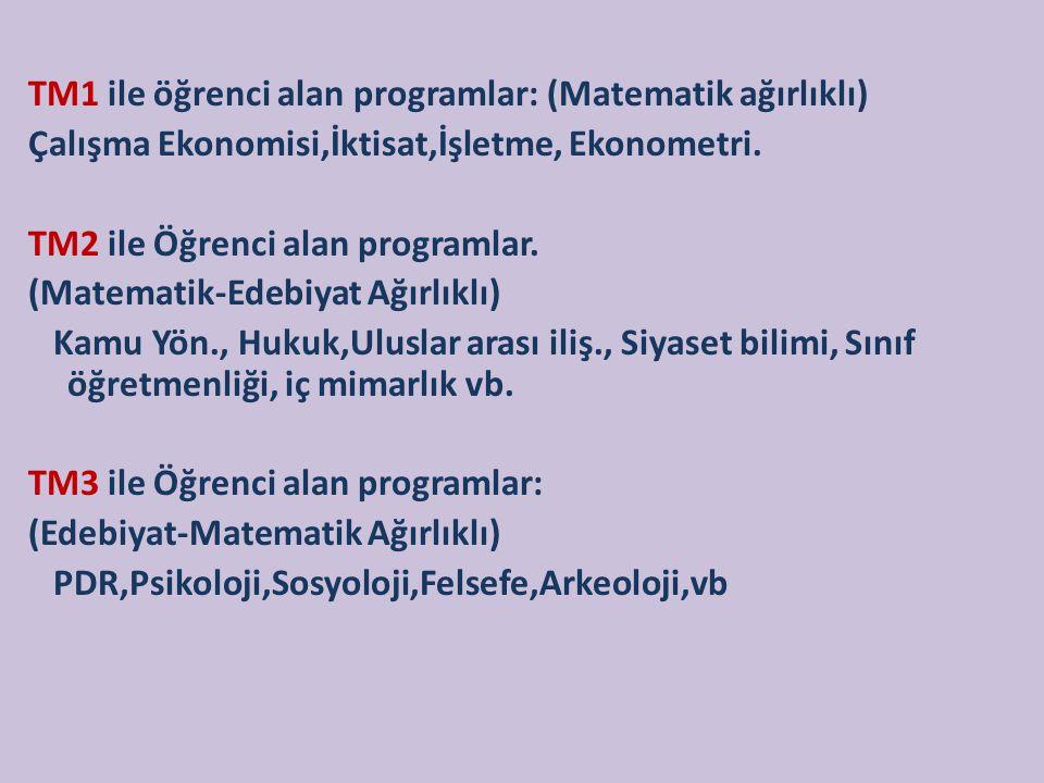 TM1 ile öğrenci alan programlar: (Matematik ağırlıklı) Çalışma Ekonomisi,İktisat,İşletme, Ekonometri.