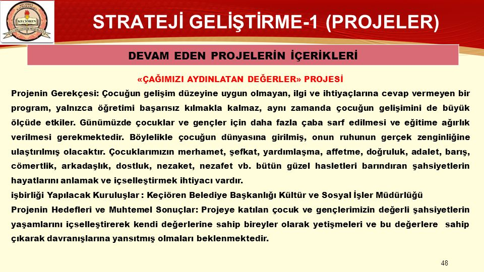 STRATEJİ GELİŞTİRME-1 (PROJELER)