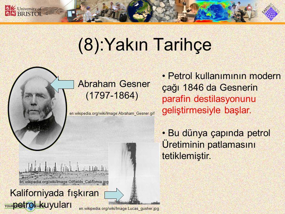 (8):Yakın Tarihçe Petrol kullanımının modern çağı 1846 da Gesnerin