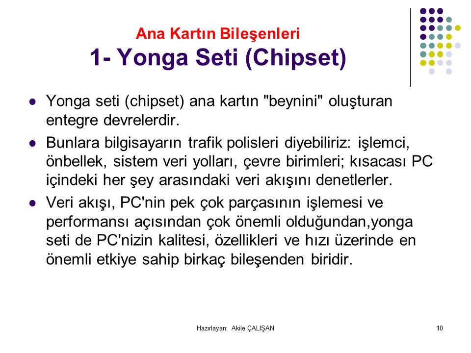 Ana Kartın Bileşenleri 1- Yonga Seti (Chipset)