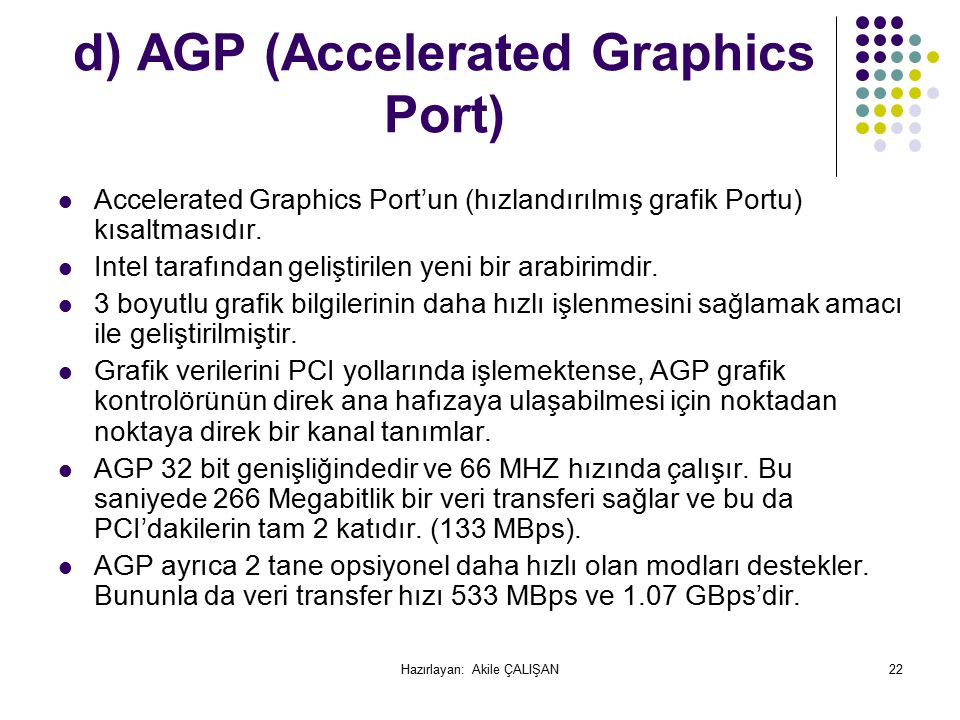 d) AGP (Accelerated Graphics Port)