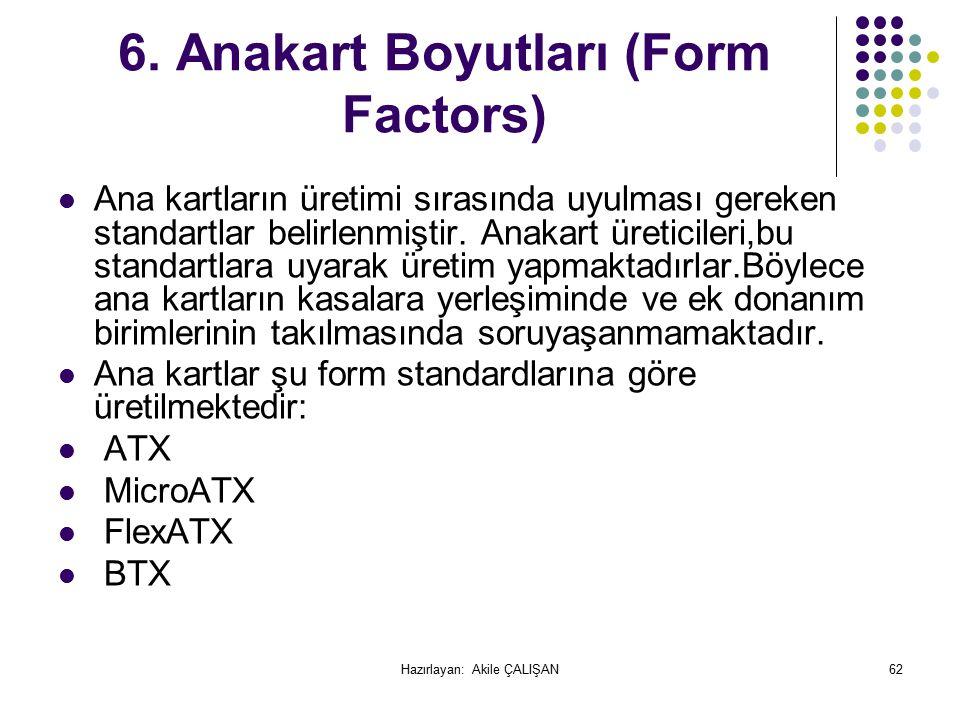 6. Anakart Boyutları (Form Factors)