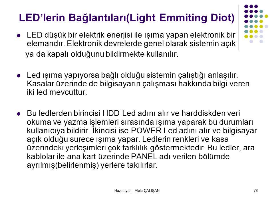 LED'lerin Bağlantıları(Light Emmiting Diot)