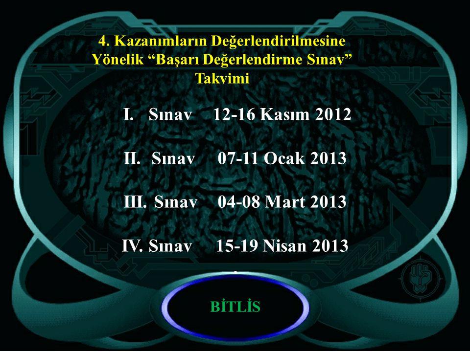 I. Sınav 12-16 Kasım 2012 II. Sınav 07-11 Ocak 2013