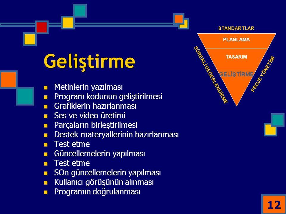 Geliştirme Metinlerin yazılması Program kodunun geliştirilmesi