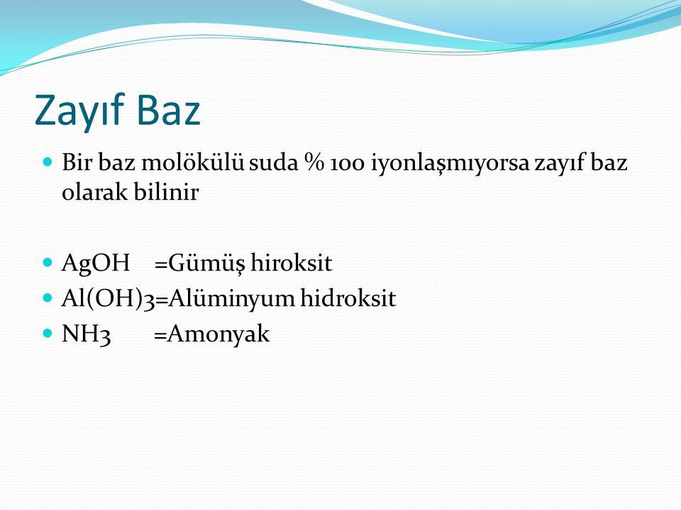 Zayıf Baz Bir baz molökülü suda % 100 iyonlaşmıyorsa zayıf baz olarak bilinir. AgOH =Gümüş hiroksit.